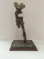"Alain Moreira #6730. ""Mi tesoro"" 2012. Bronze, marble and wood, 12"" x 6"" x 4.5"""