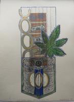 "Brito (Yamilys Brito Jorge) #7080. Series: ""Bolsillos Cubans, Cadena de humo,"" 2013. Monotype, edition 1/ 1.  19.5 x 13.5 Inches."