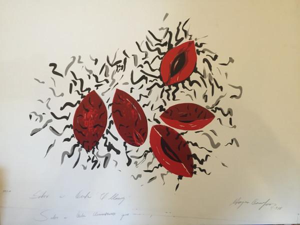 """""""Sabor a Cuba. El Mamey"""", Magdalena Campos #315. 1988. Serigraph, edition 50 of 100. 20"""" x 27.5""""."""