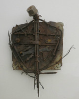Adriel Hernandez #5630. Untitled, ND. Coat of arms made of found materials, 11x 12 inches.
