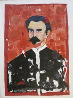 "Juan Karlos Echeverria Franco #5613. ""En el jardin,"" N.D. Acrylic on paper. 19.5 x 14 inches."