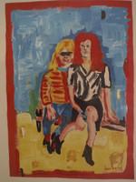 "Juan Karlos Echeverria Franco #5612. ""Foto de Domingo,"" N.D. Acrylic on paper. 19.25 x 14 inches."