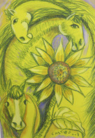 "Castillo (Osvaldo Castillo Vasquez) #5610. ""Caballos y girasoles,"" N.D. Mixed media on paper, 16.5 x 11.5 Inches. SOLD!"
