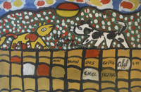 "Abel Perez-Mainegra #5556. ""Dos gatos en el tejado,"" 1999. Acrylic on canvas. 10.5 x 16.5 inches."