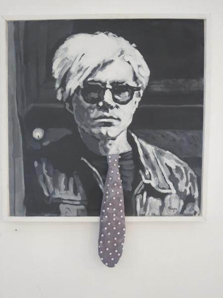 """""""Andy Warhol,"""" Marlys Fuego #5935. 2009. Mixed media/acrylic on canvas. 23"""" x 18.75""""."""