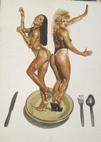 "Franklin Alvarez #3791. ""Plato Fuerte,"" 2001. Watercolor on paper. 30 x 22.5 inches."
