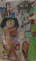 "Untitled, Nicolas Lara. 2005. Mixed media/canvas, 53"" x 31.5"", private collection."