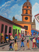 "Castillo (Osvaldo Castillo Vasquez) #6071. ""Trinidad,"" 2007. Acrylic on paper. 6.5 x 6.5 Inches."