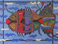 "Vilva (Elio Vilva-Trujillo) #6099. ""Olokun orisha mayor,"" 2014. Ink on paper. 7.75 x 10.5 inches"