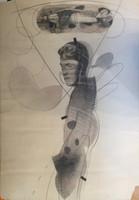 """""""El piloto"""", Ruben Torres Llorca.1982. Charcoal on paper, framed, 40"""" x 28""""."""