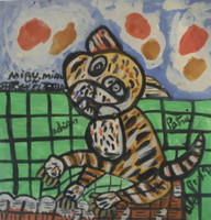 "Abel Perez-Mainegra #2076. ""Gato tigre,"" 1998. Gouache on paper 9.5 x 9.5 inches."