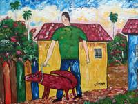 """Fito (Adolfo Flores Gonzalez) # 2112. """"El tormento de Bartolo,"""" 1999. Acrylic on canvas. 12 x 16 inches."""