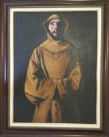 """Eduardo Garaicoa #2186. From the series: """"Orula,"""" 1995. Oil on canvas, framed. 31.5 x 23.5 inches,"""