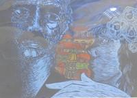 """Miguel Angel Lobaina #2194. """"Por mi ciudad,""""1978. Linoleum print edition 2/2.  11.5  x 16 inches."""