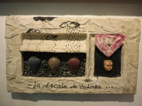 "Juan Karlos Echeverria Franco #2206. ""La escala de valores,"" N.D. Mixed media sculpture. 12 x 20 x 4 inches."