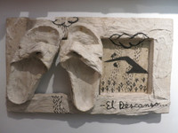 "Juan Karlos Echeverria Franco #2207. ""El Descanso,"" N.D. Mixed media sculpture. 12 x 20 x 4 inches."