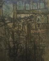 "Jose Omar Torres #2374. ""Y Ciudad,"" 2000. Etching print edition 2 of 6. 26 x 22 inches."