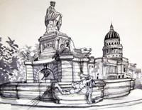 """""""Visitante en la Habana, la fuente"""", Yamilys Brito Jorge #4279. 2012. Ink on paper. 20"""" x 25""""."""