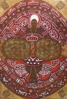 "Omar Castellanos Suarez #2488. ""St Barbara y Chango,"" 2002. Acrylic on paper. 21.5 x 15 inches."