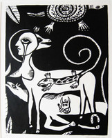 Montebravo (José Garcia Montebravo)  #2530A. Untitled, 1992. Linocut print edition 37 of 40. 20 x 15 inches.