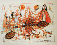 "Montebravo (José Garcia Montebravo)  #2625. ""Espacios transitados,""  2002. Mixed media on paper. 19.5 x 25.5 inches."