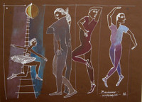 "Montebravo (José Garcia Montebravo)  #2627. ""Bailarina,"" 2002. Mixed media on paper. 24 x 30 inches."