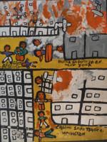 "Abel Perez-Mainegra #2658. ""Brutal sabotaje en New York, Criminal sabotage en Wasington {sic}, 2001. Acrylic on paper. 18 x 13 inches."