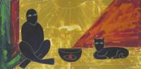 "Arzuaga (Rafael Arzuaga) #2891. ""Meditacion con gato,"" 1994. Oil on cardstock. 14.25 x 26.75 inches."