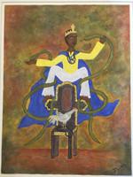 """Javier Gallosa #3176. """"El patron de los medicos,"""" 2003. Mixed media, acrylic and sand on paper. 20 x 15 inches."""