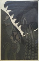 "Julio Perez Romero #1133. ""Paisaje VIII,"" N.D. Woodcut print edition 2 of 5. 16 x 10 inches."