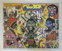 "Vilva (Elio Vilva-Trujillo) #2528. ""Evocacion a los cuatro guerreros,"" 2001. Mixed media, ink and wash on card stock. 14 x 17 inches."