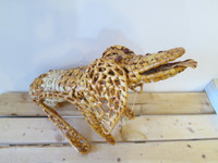 Zequeria, Tall standing straw lizard from Trinidad, Cuba. 16 inches tall x 22 inches.