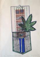 """Brito (Yamilys Brito Jorge) #5775. """"Serie: Bolsillos Cubans, Cadena de humo,"""" 2013. Monotype, edition 1/ 1.  19.5 x 13.5 Inches."""