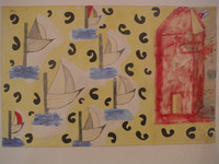 "Juan Karlos Echeverria Franco #3915. ""Todo es ahora,"" N.D. Oil, pencil, collage on paper. 13.75 x 21.25 inches"