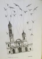 """Villalvilla (Camilo Salvador Díaz de Villalvilla Soto)  #5071. """"Extranas aves,"""" N.D. Charcoal on paper. 27.5 x 19.5 inches."""