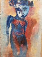 Gordillo (Francisco Gordillo Arredondo) #5101. Untitled, 2009. Acrylic on handmade paper. 14 x 10 inches.