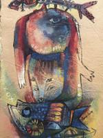 """Gordillo (Francisco Gordillo Arredondo) #5104. """"Compartiendo se ganna,"""" 2009. Mixed media on handmade paper. 16.5 x 11 inches."""