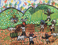 "Abel Perez-Mainegra  #1230. ""la routa del esclavo:Valle de los ingenios,"" 1999. tempera on posterboard. 8.5 x 10.5 inches. Framed."