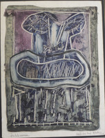 "Alazo - Alejandro Lazo #1284. ""Intolerancia,"" 1994. Monotype print. 17.5 x 13.5 inches."
