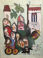 "Fuster (José Rodríguez Fuster) #1325. ""Los Cubanos,"" Mixed media, oil and ink on canvas. 22.5 x 15.75 inches.  SOLD!"