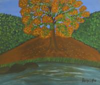 "Daisy Llazcano #6321. ""Framboyan,"" 1991. Oil on cardbord paper.  12 x 13.5 inches"