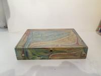 """Antonio Rodriguez Hernandez (RHA) #6705. """"El reposo del ave,"""" 1999. Hand painted cigar box. 8 x 2 x 10 inches."""