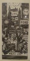 "Jose Vicente Aguilera #6711 (JS). ""Diseriminiacion racial,"" 2000. Lithograph print edition 2/2. 27 x 15 inches."
