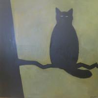 "Yordany Jimenez Pavon #6716 (SL). ""Gato sobre arbol,"" N.D. Acrylic on canvas, 38 x 38 inches."