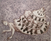 "Carlos Rene Aguilera #8033. ""Casa de cuentos, 2007. Etching , artist proof, 16"" x 19 inches."