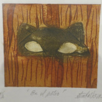 "Guillermo Estrada Viera #8037. ""En el patio,"" 2014.  Collagraph print artist proof. 7 x 6 inches."