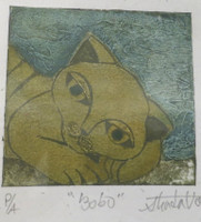 "Guillermo Estrada Viera #8039B.  ""Bobo,"" 2014. Collagraph, artist proof, 7 x 6 inches.."