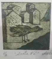"""Guillermo Estrada Viera #8039A. """"Santa Fe,"""" 2014. Collagraph, artist proof. 7 x 6 inches."""