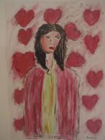 "Juan Karlos Echeverria Franco #5999. ""La nina,"" N.D. Acrylic and crayon on paper. 19.5 x 14 inches"