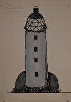 """Marlys Fuego #5903. """"Par no perder la orientacion,"""" 2010. Ink and watercolor on paper. 27.5 x 19.75 inches."""